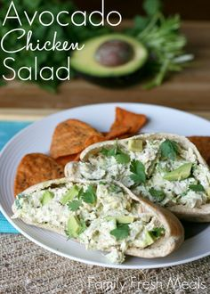 Avacado Chicken Salad: 2 cups shredded chicken 1 avocado 1/2 tsp garlic powder 1/2 tsp salt 1/2 tsp pepper 2 tsp lime juice 1 tsp fresh cilantro 1/4 cup mayo 1/4 cup plain Greek Yogurt Refrigerate for @ least 30 minutes