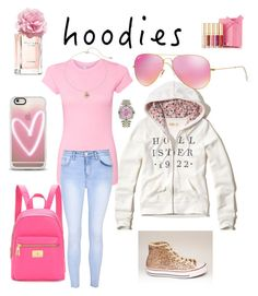 """Think pink"" by meeps01 on Polyvore featuring Hollister Co., Glamorous, Casetify, Ray-Ban, Juicy Couture, Tommy Hilfiger, LC Lauren Conrad and Rolex"
