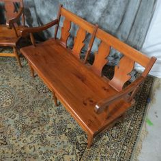 here is one example, in fct the nly expample i could find on the whole internets of the same bench in original cherrywood....boring & grand ma's style....i am happy i painted
