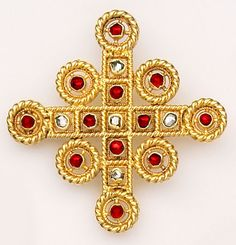 Rose-cut diamond, ruby and gold cross. Castellani. Castellani is considered one of the finest Victorian jewelers. His jewelry is quite rare and very collected.