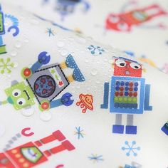 Laminated Cotton Fabric Robot Blue By The Yard in Crafts, Sewing & Fabric, Fabric | eBay