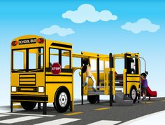 Get ready for time with the PlayShaper® School Bus! Great for and centre playgrounds. Piscina Playground, Outdoor Playground, Playground Design, Playground Ideas, School Bus Driver, School Buses, Outdoor Play Structures, Preschool Playground, School Murals
