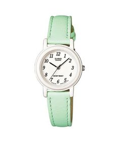 Amazon.com: Casio Women's Light Green Genuine Leather Analog Watch LQ139L-3B: Watches