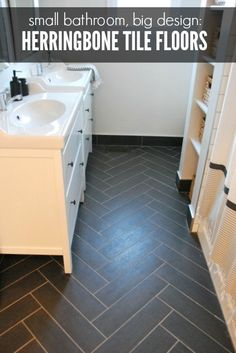 Get high style on a budget in your bathroom! How we created a luxe floor using ceramic tiles laid in a herringbone pattern and IKEA Hemnes vanities for a chic gray and white bathroom. Click over for the full scoop and see how the bathroom design came together!