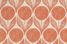 Suvi (W375/06) - Romo Wallpapers - Inspired by a 1950's Scandinavian block print, this wallpaper shows flowers and large leaves. Shown here in blossom clementine and taupe. Other colourways are available. Please request a sample for a true colour match. Pattern repeat is 34.3cm.