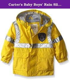 Carters Baby Boys Rain Slicker, Yellow Police Officer, 18 Months. Boys police rain slicker.