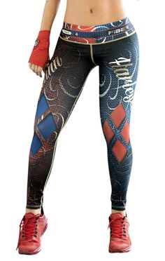 Harley Quinn - Super Hero Leggings - Fiber - Roni Taylor Fit - 2 These Harley Quinn Super Hero Leggings from Fiber are great for working out, casual wear or even dressing up for Halloween. You will love these exclusive leggings that are made from the highest quality materials to make sure they look great, feel even better and last longer than you ever thought possible. Limited Edition and once they are sold out they will not be back again!
