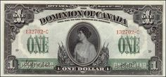 Dominion of Canada Notes one Dollar banknote of Princess Patricia of Connaught.:Coins and Banknotes Canadian Dollar, Canadian Coins, Canadian History, Images Of Princess, Reine Victoria, Money Notes, Old Money, Thing 1, One Dollar