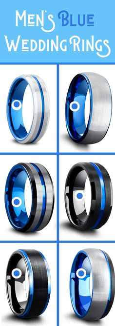 Men's blue wedding rings crafted out of tungsten carbide. These unique mens wedding rings are super durable and super comfy. A huge collection of blue and black rings and blue an silver mens wedding rings! So many mens wedding rings to pick from! #mensweddingrings #mensweddingbands