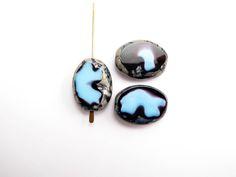 ova0046 Blue Picasso Oval Czech Glass Beads