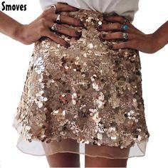 Smoves Sparkle Shinny Autumn Winter Spring Women Mesh Sequin Skirt A-Line Mini Skirt Gold Silver New Size S-XL SK132