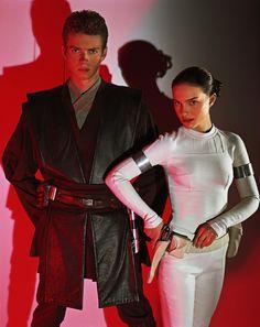 Natalie Portman and Hayden Christensen, as Queen Padmé Amidala and Anakin Skywalker in Star Wars.
