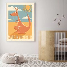 Looking for an Aussie inspired print for your baby's nursery or child's room. This retro feel print is the perfect art for your made in australia kiddo. Nursery Storage, Nursery Wall Decor, Nursery Rhymes, Nursery Art, Girl Nursery, Kids Prints, Art Prints, Nursery Lighting, Baby Fairy