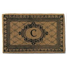 """Personalized Estate Coco Door Mat - 36"""" x 72"""", V - Frontgate by Frontgate. $99.50. Cut to a full 2"""" pile, the mat retains its shape and won't slip. Quickly whisks dirt and debris away from shoes. Your monogram will be hand-stenciled at the center free of charge. Natural coir fibers are woven into a dense pile for ultimate durability. Scroll frame is bordered by an elegantly formal egg-and-dart motif. Natural coir fibers are woven into a dense pile for ultimate durability. Cut..."""