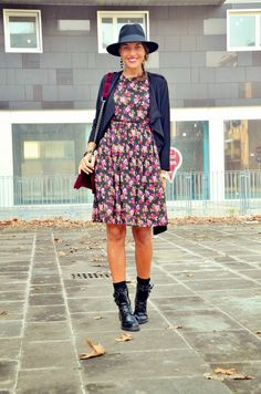 spring, dress, fedora, fashion, outfit