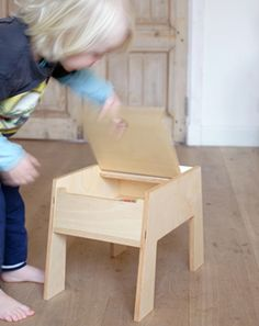 children's stool with storage - aboutstek.nl - handmade, sturdy wooden furniture for children, who also appeal to adults.