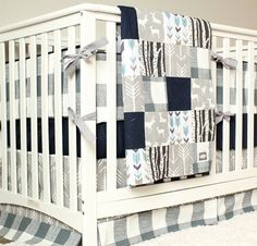 woodland nursery bedding set deer crib bedding navy blue gray arrow plaid baby boy crib bedding - Baby Bedding For Boys