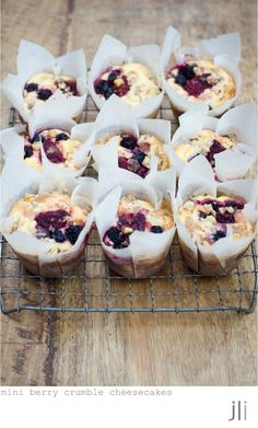 mixed berry and ricotta crumble cakes