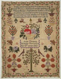 Sampler (verse, motifs & pictorial), made in the Swansea Valley, 1863 ::: Gathering the Jewels