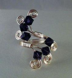 Purple Swarovski wire ring