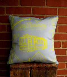 San Francisco Landmark Pillow by BrickAndMortarDesign