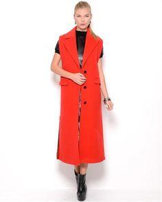 Jean Paul Gaultier Femme Sleeveless Long Wool Coat- Made in Italy  JeanWomen #Outerwear