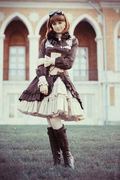 Seriously in love with the ruffly skirts! Such a lovely steampunk lolita look.  (Steampunk Doll ~ Autumn by ping.timeout, via Flickr)