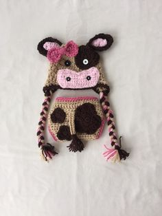 Items similar to Crochet Cow Hat and Diaper Cover in Tan and Dark Brown  with Pink Trim - Farm Animals - Photo Prop - Available in Any Size or Color  ... 0524255ead0