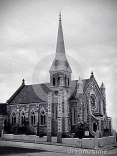 A black and white photo of an old church in Port Elizabeth, South Africa.