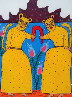 Dance of the Tigers Mexican folk art #MexicanFolkArt #MexicanArt