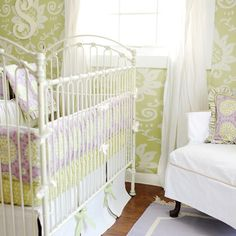 tired of light pink and baby blue? this lavender and lime green set is a refreshing change!