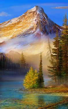 My pretty mount by andrekosslick on DeviantArt Beautiful Nature Pictures, Amazing Nature, Nature Photos, Beautiful Landscapes, Cool Pictures, Mountain Paintings, Nature Paintings, Landscape Paintings, Peintures Bob Ross