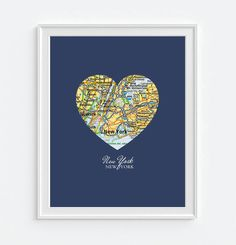 Cool NYC gift, Valentines Day, New York Vintage Map ART PRINT New York print by droppedpinshop
