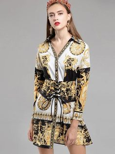 Folk V-Neck Long Sleeve Print Irregular Skater Dress