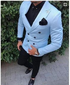 Tailored Slim Fit 2 Piece Light Blue Suit Men Tuxedo double breasted Groom Blazer mens Wedding Suits Terno Masculino Jacket+Pant Check out new pins on this board Light Blue Suit, Blue Suit Men, Blue Suits, Slim Fit Tuxedo, Tuxedo For Men, Prom Suits For Men, Men Wedding Suits, Suit For Men, Wedding Tuxedos