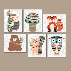 TRIBAL Nursery Wall Art, Canvas or Prints Woodland Wall Art, Wood Forest Animals, Bear Fox Squirrel OWL, Gender Neutral Set of 6 Decor