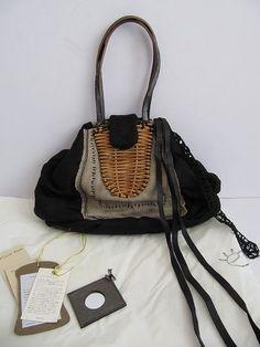 ebagos:ebagos Satchel Backpack, Satchel Handbags, Leather Backpack, Textiles, Japanese Bag, Unique Handbags, Diy Handbag, Art Bag, Linen Bag