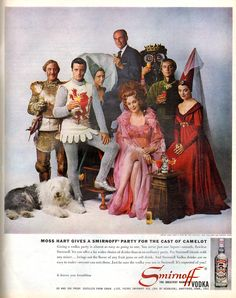 """1961 SMIRNOFF VODKA vintage magazine advertisement """"Moss Hart"""" ~ Moss Hart gives a Smirnoff party for the cast of Camelot - Giving a vodka party is almost as easy as going to one. You serve just one liquor -- smooth, flawless Smirnoff. it leaves . Vintage Ads, Vintage Prints, Church Of The Subgenius, Old Advertisements, Advertising, Smirnoff, Wine And Spirits, Magazine Art, Print Ads"""