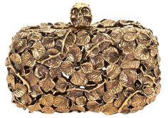 Alexander McQueen . Gold Leaf Metal Skull Box Clutch