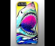Great White Shark iPhone 4 4s 5 5s 5c 6 Case, Samsung Galaxy Hard Plastic Cover, Nature Art, Ocean Art, Wave Phone Case