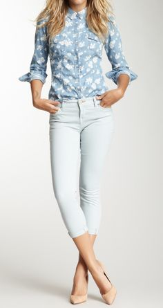 Chambray + light skinny jeans