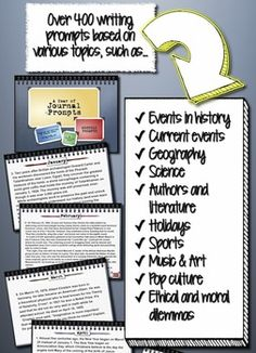A Year of Journal Writing Prompts aligned with the Common Core Standards for Writing and Reading Informational Texts