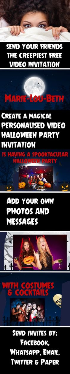 FREE -  Create the ultimate Halloween Party invitation - tailor with images and text of your choice.