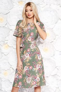 StarShinerS khaki dress with floral prints daily a-line slightly elastic fabric accessorized with tied waistband, slightly elastic fabric, accessorized with tied waistband, floral prints, short sleeves