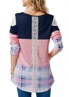 573332696 Patchwork Long Sleeve Round Neck Printed T Shirt   Rotita.com - USD $28.85  Camiseta