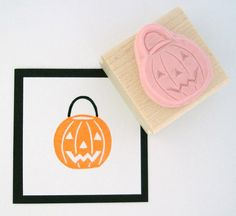 Halloween Pumpkin Bucket Hand Carved Rubber Stamp by cupcaketree