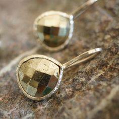 """Boucles d'oreilles argent """"Drop"""" Pyrite"""