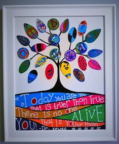 Gallery of Modern Folk Artist Pristine Cartera-Turkus: Knightlife Auction  Art project made by KIndergartners and PrisArts.   The kids decorated some wood chips which i put together and added a Tree of Life. A quote by Dr Seuss was also incorporated to the artwork.  This painting will be auctioned off during the Knight Pride Fundraising Project for Rossmoor Elementary School.