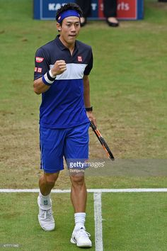 Kei Nishikori of Japan reacts in his match against Jerzy Janowicz of Poland during day five of the Gerry Weber Open at Gerry Weber Stadium on June 19, 2015 in Halle, Germany.