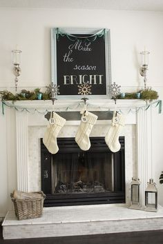 Christmas fireplace mantel - black, turq, silver and white